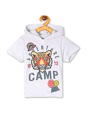 Cherokee Grey Boys Appliqued Hooded T-Shirt