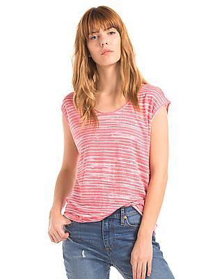 GAP Women Pink Linen Cap Sleeve Wavy Stripe Tee