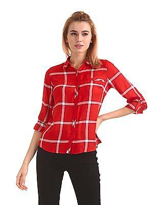 Flying Machine Women Spread Collar Check Shirt