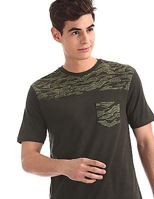 Cherokee Green Camo Print Panel Slub T-Shirt