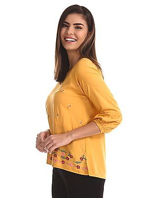Bronz Yellow Cut And Sew Panel Embroidered Top