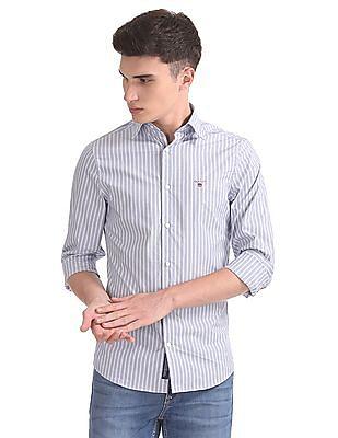 Gant Techprep Broadcloth Stripe Slim Hidden Button Down Shirt
