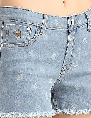 Flying Machine Women Floral Print Washed Denim Shorts