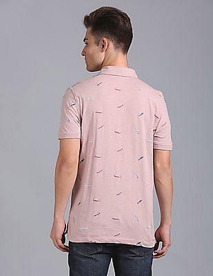 GAP Men Pink Printed Slub Polo