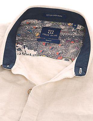 True Blue Solid Slim Fit Shirt