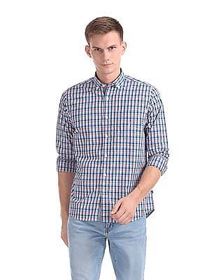 Nautica Long Sleeve Yarn Dyed Small Plaid Poplin Shirt