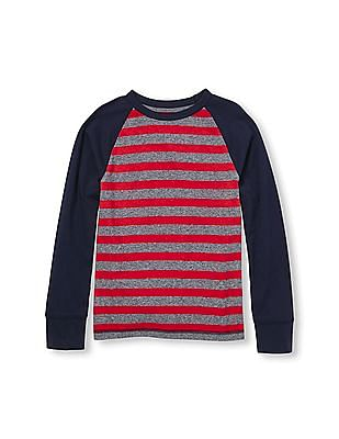 The Children's Place Boys Red Active Long Raglan Sleeve Striped Top