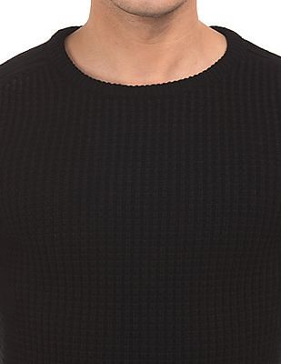 Flying Machine Patterned Knit Round Neck Sweater