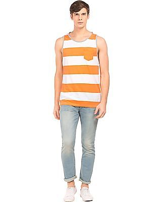 Aeropostale Ribbed Trim Striped Tank