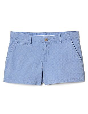 GAP Women Blue Floral Print Summer Shorts