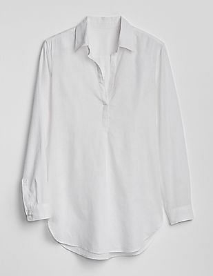 GAP White Boyfriend Popover Tunic In Linen