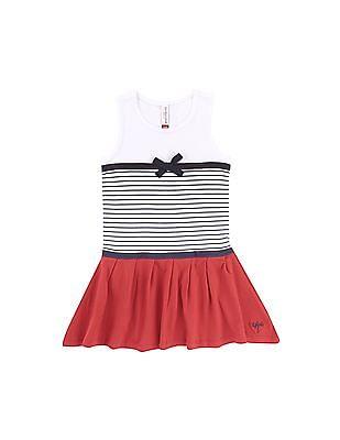 U.S. Polo Assn. Kids Girls Colour Blocked Drop Waist Dress