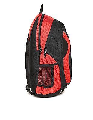Flying Machine Black Textured Panel Laptop Backpack