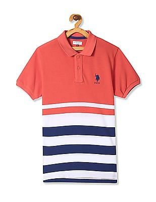 U.S. Polo Assn. Kids Boys Ribbed Collar Cotton Polo Shirt