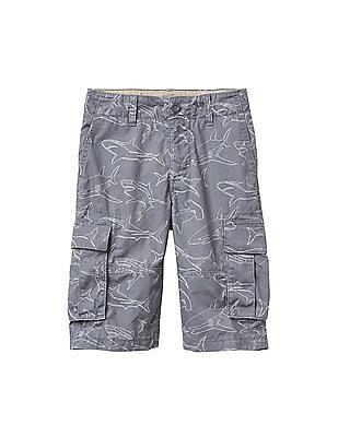 GAP Boys Grey Shark Print Ranger Shorts