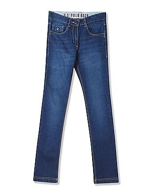 U.S. Polo Assn. Kids Girls Whiskered Stretch Jeans