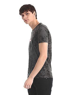 Ed Hardy Grey Allover Print Crew Neck T-Shirt