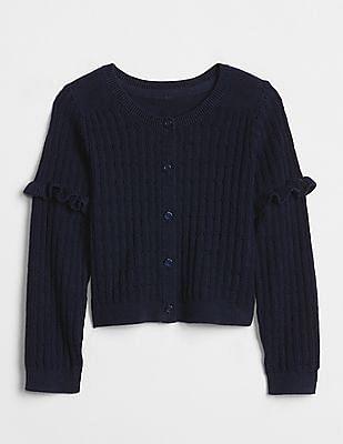 GAP Baby Blue Pointelle Ruffle Cardigan Sweater
