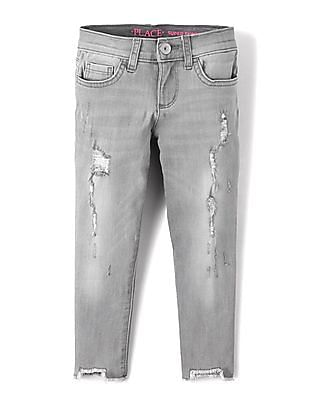 The Children's Place Girls Distressed Gray Super Skinny Jeans