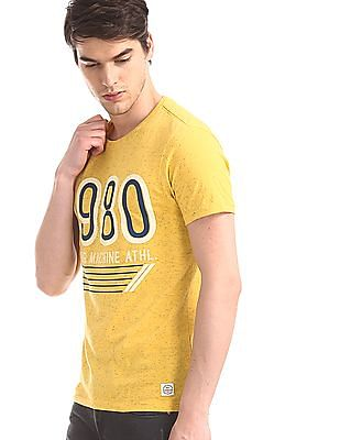 Flying Machine Yellow Crew Neck Nep T-Shirt