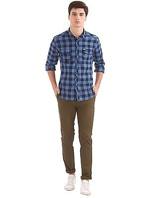 Flying Machine Super Slim Fit Mid Rise Trousers