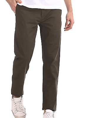 Arrow Sports Green Chrysler Slim Fit Printed Trousers