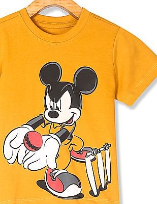 Colt Yellow Boys Mickey Mouse Graphic Crew Neck T-Shirt