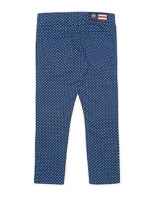 U.S. Polo Assn. Kids Girls Clover Print Cotton Pants