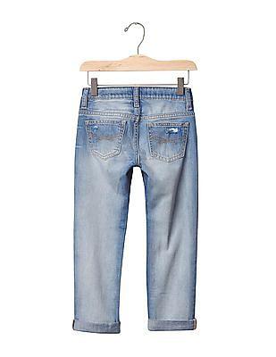 GAP Girls Blue 1969 Destructed Boy Fit Jeans