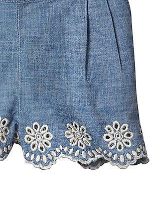 GAP Baby Blue 1969 Eyelet Pull On Chambray Shorts