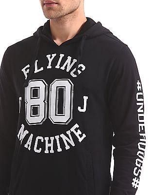Flying Machine Contrast Print Hooded Sweatshirt