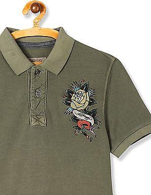 Ed Hardy Embroidered Logo Pique Polo Shirt
