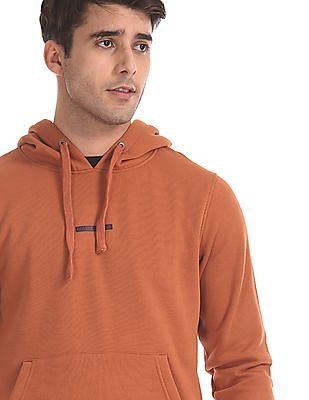 Flying Machine Orange Sleeve Tape Hooded Sweatshirt