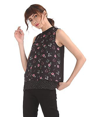SUGR Black Printed Layered Top