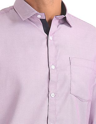Excalibur Patterned Weave Cotton Blend Shirt
