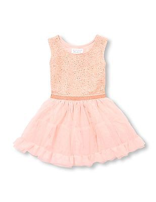 The Children's Place Toddler Girl Sleeveless Rose Gold Glitter Tutu Dress