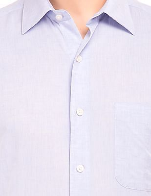 Arrow Patterned Weave Cotton Linen Shirt