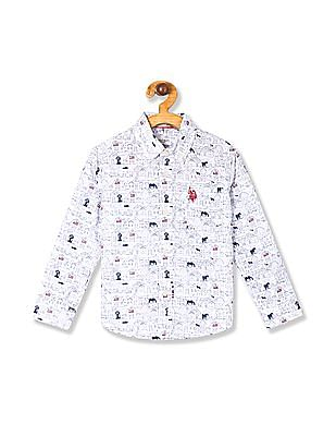 U.S. Polo Assn. Kids White Boys Button Down Collar Printed Shirt