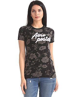 Aeropostale Crew Neck Floral Print T-Shirt