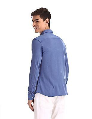 Arrow Sports Blue Mitered Cuff Solid Shirt
