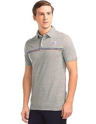 GAP Men Grey Heathered Pique Polo Shirt