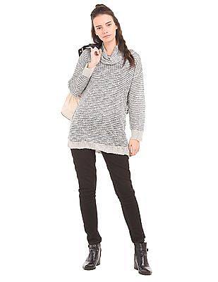 U.S. Polo Assn. Women Cowl Neck Loose Knit Top