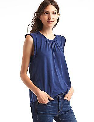 GAP Women Blue Soft Cap Sleeve Top