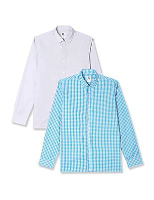 Excalibur Semi Cutaway Collar Long Sleeve Shirt - Pack Of 2