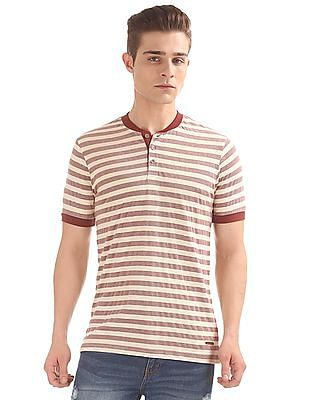 Cherokee Striped Henley T-Shirt