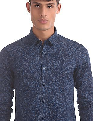 Flying Machine Blue Concealed Button Down Collar Shirt