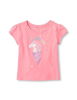 The Children's Place Toddler Girl Short Sleeve 'Uni-cone' Graphic Tee