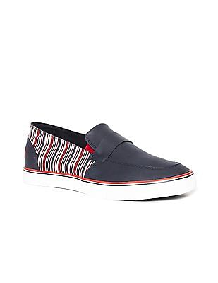 U.S. Polo Assn. Round Toe Striped Panel Slip On Shoes