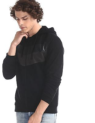 Ed Hardy Black Cut And Sew Panel Hooded Sweatshirt