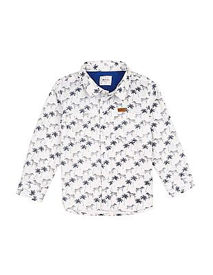Donuts Boys Chest Pockets Printed Shirt